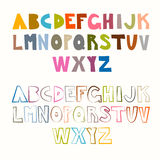 Vector Funny Alphabet Sets. Colorful and Outlined. Royalty Free Stock Images