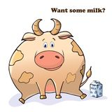 Vector funny animal. Thick cute cow with a box of milk. Postcard with a comic phrase. Cute fat animal. Isolated object on white vector illustration