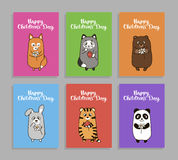Vector funny animals cards for childrens day Royalty Free Stock Images