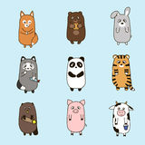 Vector funny animals hand drawn picture Royalty Free Stock Photo