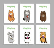 Vector funny animals hand drawn picture with flower Stock Image