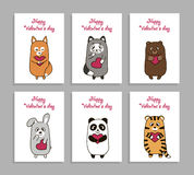 Vector funny animals hand drawn picture for Valentines Day. Set of vertical cards romantic, painted hand drawn for Valentine s Day. Cute animal lovers with smile Royalty Free Stock Images
