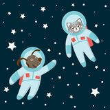 Vector funny astronaut cat and dog in space with planets and stars royalty free illustration