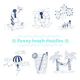 Vector funny beach doodles set. Vector set of funny beach doodles  on white background Royalty Free Stock Image