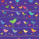 Vector funny bird. Seamless pattern. Stock Images
