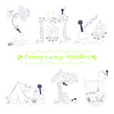 Vector funny camp doodles set Stock Photography