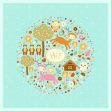 Vector funny card with animals and trees. Vector funny card with deer, bears, trees and birds Royalty Free Stock Image