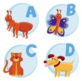 Vector funny cartoon alphabet. For children - Ant, Butterfly, Cat, Dog Royalty Free Stock Image