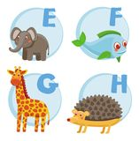 Vector funny cartoon alphabet. Elephant, Fish, Giraffe, Hedgehog Stock Illustration