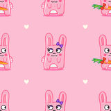 Vector funny cartoon bunnies St Valentine Day Royalty Free Stock Photo