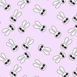 Vector funny cartoon bunny in sunglasses pattern. Cool kids spring decoration. Stylish hipster rabbits Stock Photos
