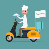 Vector funny cartoon chef cook man scooter food royalty free illustration