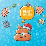 Vector funny cartoon cool cute brown smiling poo icon with santa red hat, gifts and speech bubble on christmas blue Royalty Free Stock Photos