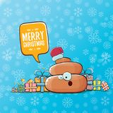Vector funny cartoon cool cute brown smiling poo icon with santa red hat, gifts and speech bubble on christmas blue Stock Images