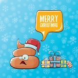 Vector funny cartoon cool cute brown smiling poo icon with santa red hat, gifts and speech bubble on christmas blue Stock Photos