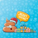 Vector funny cartoon cool cute brown smiling poo icon with santa red hat, gifts and speech bubble on christmas blue Royalty Free Stock Images