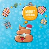Vector funny cartoon cool cute brown smiling poo icon with santa red hat, gifts and speech bubble on christmas blue Royalty Free Stock Image