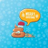 Vector funny cartoon cool cute brown smiling poo icon with santa red hat, gifts and speech bubble on christmas blue Stock Photography