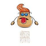 Vector funny cartoon cute brown hipster potato Stock Photos