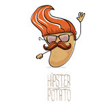 Vector funny cartoon cute brown hipster potato Stock Image