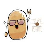 Vector funny cartoon cute brown potato Stock Photos