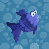 Vector funny cartoon fish. Vector funny blue cartoon fish Stock Photography