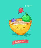 Vector funny cartoon. Fruit diet. Porridge and Stock Photography