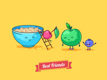 Vector funny cartoon. Fruit diet. Porridge and Stock Photo