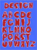 Vector funny cartoon hand drawn marker colorful uppercase alphabet. Red letters