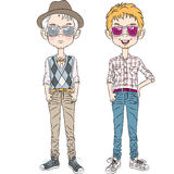 Vector funny cartoon hipster boys Royalty Free Stock Images