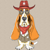 Vector funny cartoon hipster dog Basset Hound Stock Photos