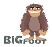 Vector funny cartoon sasquatch, yeti, bigfoot standing friendly smile. Caveman standing and smiling while standing on the letters. royalty free illustration