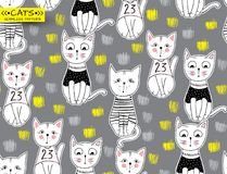 Vector funny cat seamless pattern. Cute kitten hand drawn illust. Ration. Stylish cartoon animals background. Ideal for fabric, wallpaper, wrapping paper Stock Photography