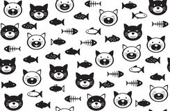 Vector  funny cats   and fishes seamless pattern. Vector  funny cats   and fishes seamless pattern, black and white  silhouettes, isolated on white Royalty Free Stock Photos