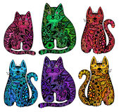 Vector funny cats with floral ornament. Stock Images
