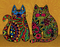 Vector funny cats with floral ornament. Stock Image