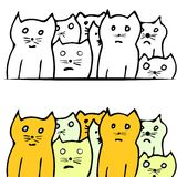 Vector of funny cats in hand-draw style Royalty Free Stock Photography