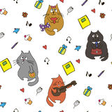 Vector funny cats and hearts seamless hand drawn pattern Royalty Free Stock Photography