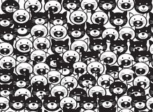 Vector  funny cats  seamless pattern. Vector  funny cats  seamless pattern, black and white  silhouettes, isolated on white Royalty Free Stock Images