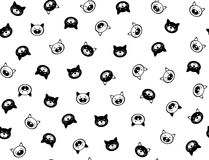 Vector  funny cats  seamless pattern. Vector  funny cats  seamless pattern, black and white  silhouettes, isolated on white Stock Photography