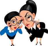 Vector funny characters, two spy ladies, women, curious royalty free illustration