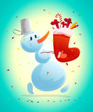 Vector funny christmas illustration with happy snowman isolated. Cartoon style. Snowman carrying gifts and presents. New year illustration design element Stock Image