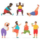 Vector funny chubby fat man characters set doing gym workout exercises. Sport fitness. vector illustration