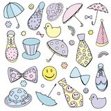Vector funny Clown`s Accessories set boots umbrellas hats bow-ties and ties in pastel colors isolated on white background stock illustration