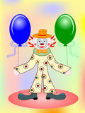 Vector funny clown with two balloons Royalty Free Stock Image