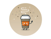 Vector funny coffee cup cartoon character Stock Image