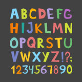 Vector funny comics font. Hand drawn lowcase and uppercase colorful cartoon English alphabet letters. Vector illustration Royalty Free Stock Image