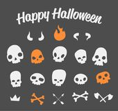 Funny Skulls Set. Vector funny crooked skulls with different decor elements for halloween decoration. Cool and scary dead heads collection for all saints day Stock Image