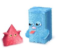Vector Funny and cute hairy cartoon pink and blue monsters. Funny and cute hairy cartoon pink and blue monsters royalty free illustration