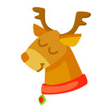 Vector of funny deer isolated on white. Cartoon style. Cute  christmas icon. illustration. Stock Image
